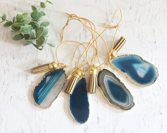 Teal Gold Plated Boho Agate Ornament Set of 4