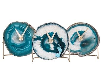 TEAL AGATE CLOCK,Aqua Agate Desk Clock,Boho Decor,Rock Enthusiast Gift,Geologist Gift,Modern Boho Clock,Indie Office Decor,Clock Lovers Gift