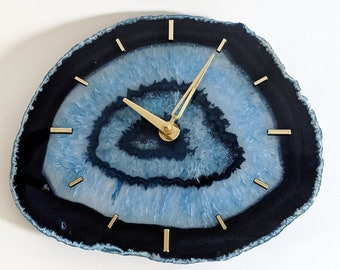 "9.5"" Jumbo Blue Agate Slab Wall Clock"