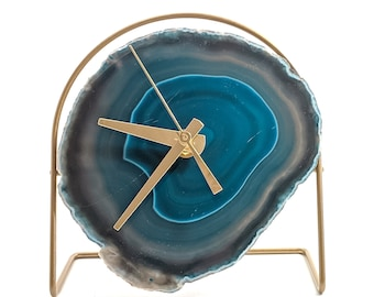 Teal Agate Desk Clock