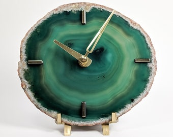 """6.5"""" Large Green Agate Desk Clock 