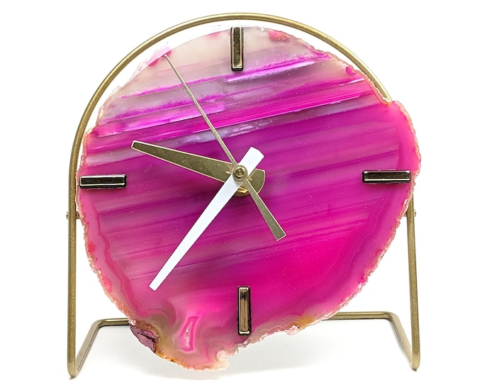 Pink/Fuchsia Agate Desk Clock | Ready To Ship