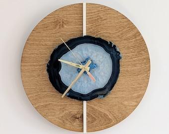 "12"" Blue Agate + Layered Wood Wall Clock"