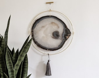 "LeeAnn Design | 10"" Jumbo Gray Agate Slab Wall Hanging"