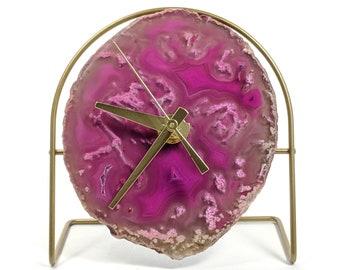 Pink Agate Desk Clock