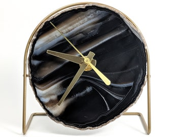 Black Agate Desk Clock