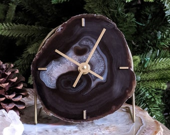 Black Agate Desk Clock | Ready to Ship