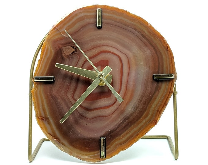 Amber Agate Desk Clock | Ready To Ship