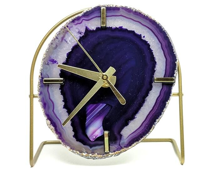 Purple Agate Desk Clock | Ready To Ship