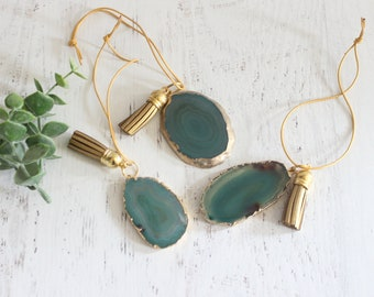 Green Gold Plated Agate Ornaments No 1 ( Set of 3)