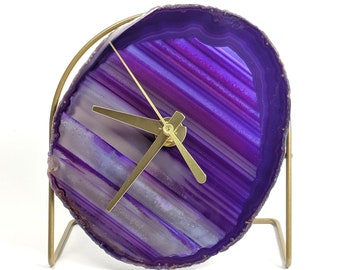 Purple Agate Desk Clock