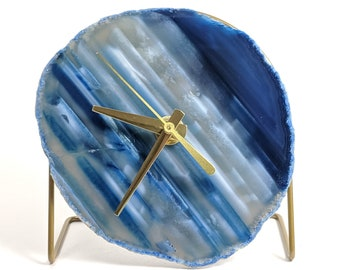 Blue Agate Desk Clock