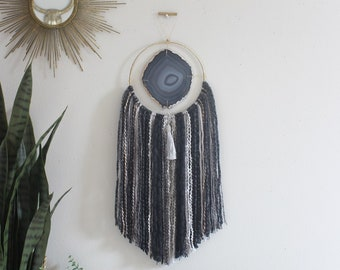 "Noira Design | 6"" Dark Gray Agate + Fringe Wall Hanging"