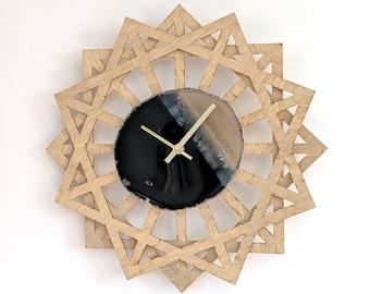 "14"" Black Agate + Sunburst Wood Wall Clock"