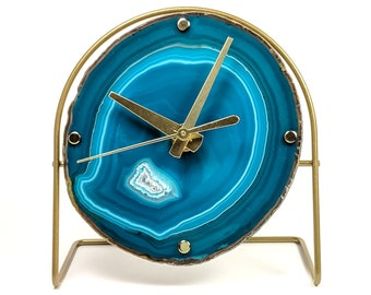 Teal Agate Desk Clock | Ready To Ship
