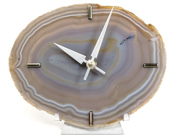 """8"""" Large Natural/Gray Agate Desk Clock 