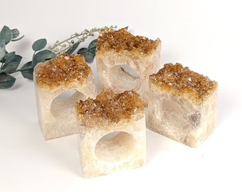 Set of 4 Citrine Geode Napkin Rings | Set #1