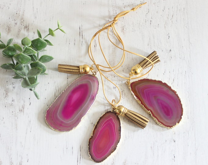 Pink/Fuchsia Gold Plated Agate Ornaments No 1 ( Set of 3)