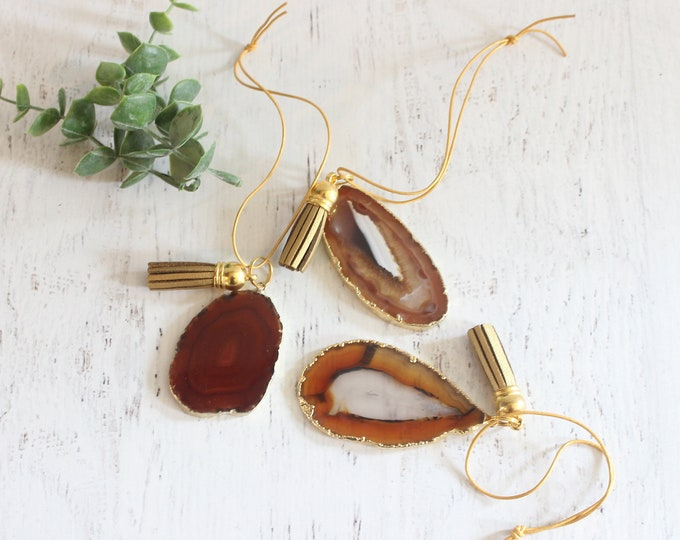 Amber Gold Plated Agate Ornament Set of 3