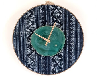 "12"" Green Agate + Indigo Hmong Textile Wall Clock,Boho Decor,Boho Wall Decor,Boho Clock,Gift for Her,Womens Gift,Bohemian Wall Hanging"