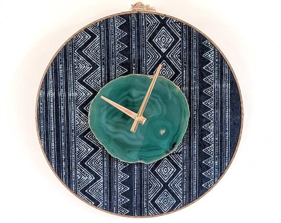 "12"" Green Agate + Indigo Hmong Textile Wall Clock,Boho Decor,Boho Wall Decor,Boho Clock,Gift for Her,Womens Gift,Bohemian Wall Hanging"