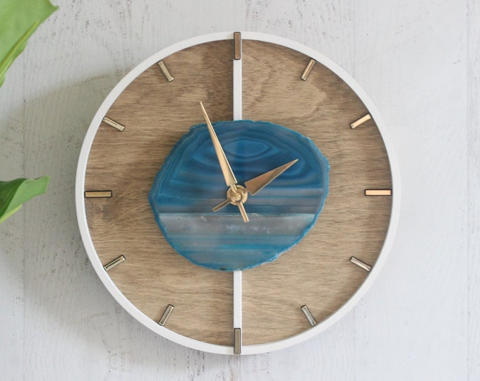 """10"""" Agate Layered Wood Wall Clock   Choose Your Agate"""
