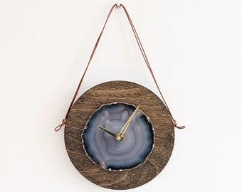"8"" Gray Agate + Wood Wall Clock"