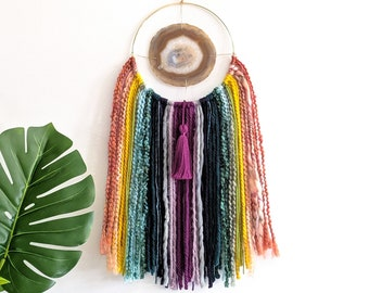 "Rainbow Design | 5-1/4"" Natural Agate + Fringe Wall Hanging"