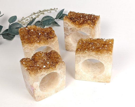 Set of 4 Citrine Geode Napkin Rings | Set #2