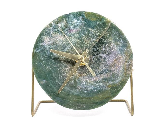 Green Quartz Crystal Desk Clock