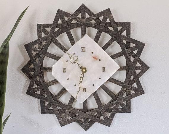 """14"""" White Quartz Sunburst Wall Clock,White Agate Clock,Agate Wall Clock,Boho Wall Decor,Boho Decor,Gift for Her,Gift for Him,Christmas Gift"""