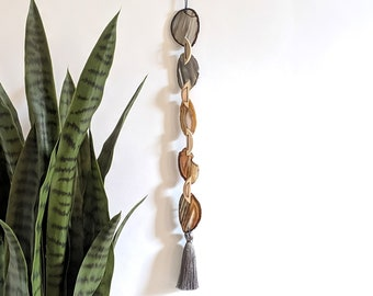 Ombre Gray and Natural Boho Agate Tassel Garland