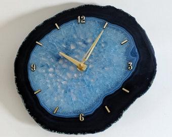 "9"" Jumbo Blue Agate Slab Wall Clock"