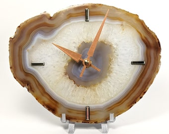 """8"""" Large Natural Agate Desk Clock 