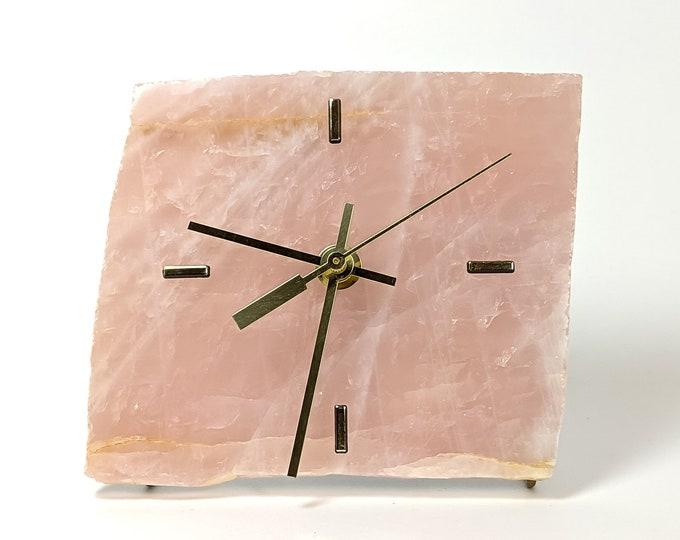 Rose Quartz Slab Desk Clock No 15