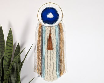"5"" Blue Agate + Fringe Wall Hanging"