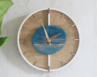 """12"""" Layered Design Choose Your Agate + Wood Wall Clock 