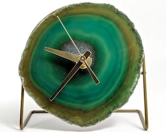 Dark Green Agate Desk Clock