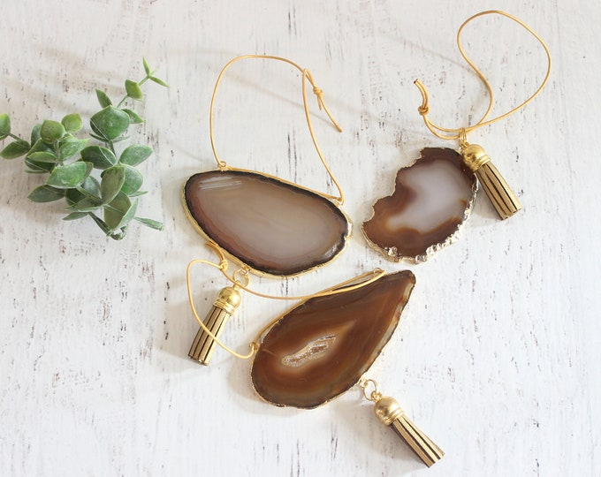 Natural Gold Plated Agate Ornament Set of 3