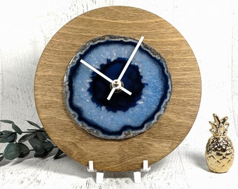 "8"" Blue Agate Wood Wall/Desk Clock"