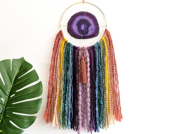 "Rainbow Design | 5-1/2"" Purple Agate + Fringe Wall Hanging"