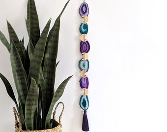 Purple and Teal Agate Boho Garland | 6-Piece Length