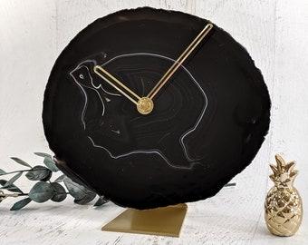 "8"" Black Large Agate Clock"