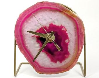 Pink/Fuchsia Agate Desk Clock