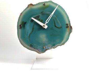"""6"""" Large Green Agate Desk Clock 