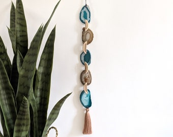 Teal and Natural Agate Garland