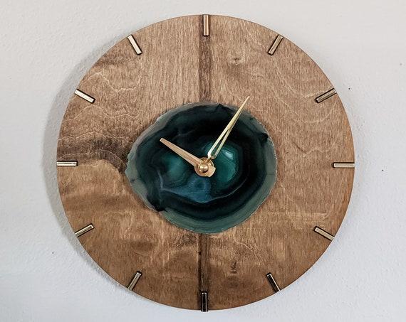 "10"" Dark Green Agate + Wood Wall Clock | Mid Century Design"