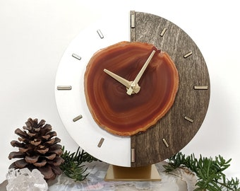 "8"" Amber Agate + Kismet Wood Desk Clock"