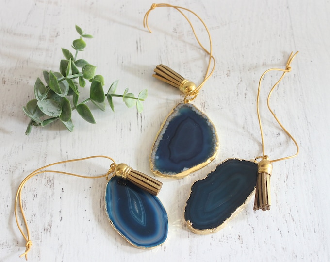 Dark Blue Gold Plated Agate Ornaments No 1 ( Set of 3)