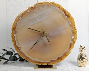 """8.5"""" Natural Orange Large Agate Clock"""